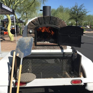 Authentic Pizza Ovens Famosi Countertop Wood Fired Pizza Oven on Custom Built Food Cart Trailer