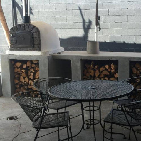 Authentic Pizza Ovens Famosi Countertop Wood Fired Pizza Oven on Custom Build Cement Outdoor Kitchen Counter