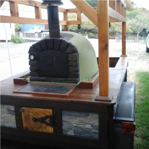 Authentic Pizza Ovens Famosi Countertop Wood Fired Pizza Oven on Custom Built Food Trailer