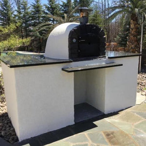 Authentic Pizza Ovens Famosi Countertop Wood Fired Pizza Oven on Custom Built Granite Outdoor Countertop Base