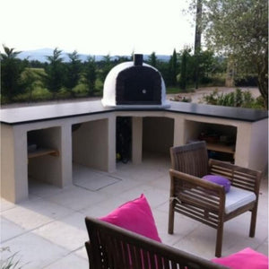 Authentic Pizza Ovens Famosi Countertop Wood Fired Pizza Oven in Custom Outdoor Kitchen