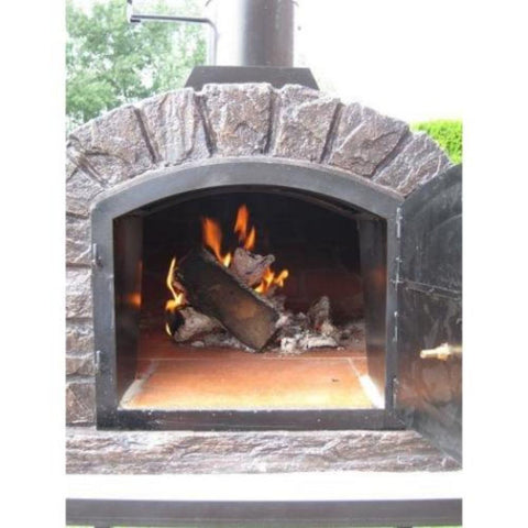 Authentic Pizza Ovens Famosi Countertop Wood Fired Pizza Oven with Door Open and Burning Wood