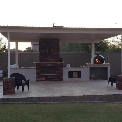 Authentic Pizza Ovens Famosi Countertop Wood Fired Pizza Oven in Traditional Outdoor Kitchen