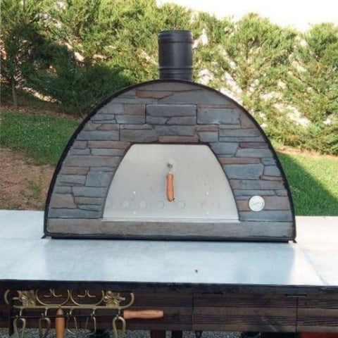 Authentic Pizza Ovens Maximus Prime Countertop Wood Fired Pizza Oven in Black in Backyard on Counter