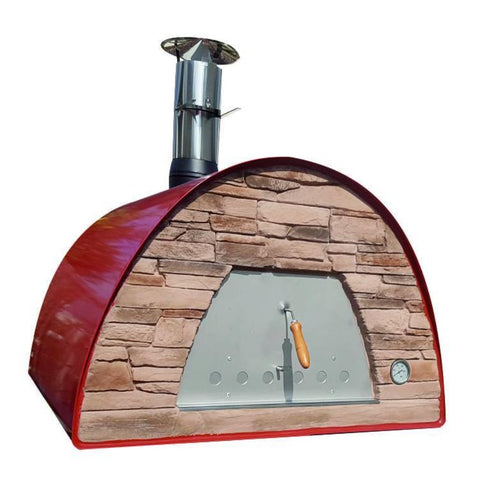 Authentic Pizza Ovens Maximus Prime Countertop Wood Fired Pizza Oven in Red PRIMER Close Up View