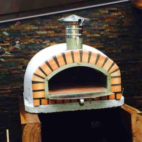 Image of Authentic Pizza Ovens Pizzaioli Countertop Wood Fired Pizza Oven on Custom Built Wood Base with Oven Door Open
