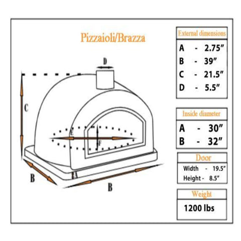 Authentic Pizza Ovens Pizzaioli Countertop Wood Fired Pizza Oven Specification Sheet PIZ