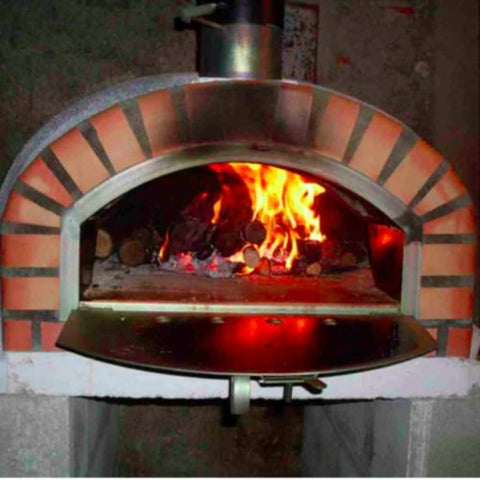 Authentic Pizza Ovens Pizzaioli Countertop Wood Fired Pizza Oven with Door Open and Wood Burning Inside