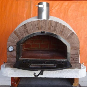 Authentic Pizza Ovens Premium Buena Ventura Red Brick Countertop Wood Fired Pizza Oven with Door Open and Bricks Inside
