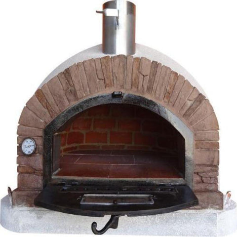 Image of Authentic Pizza Ovens Premium Buena Ventura Red Brick Countertop Wood Fired Pizza Oven With Door Open