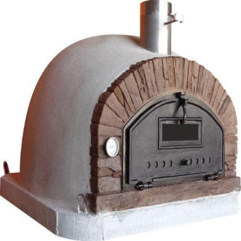 Image of Authentic Pizza Ovens Premium Buena Ventura Red Brick Countertop Wood Fired Pizza Oven Left Side View