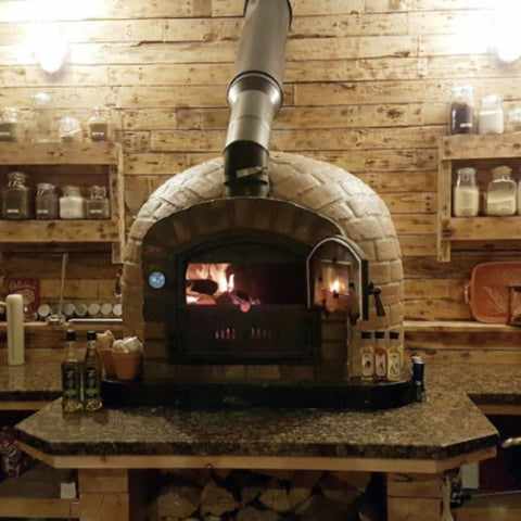 Authentic Pizza Ovens Premium Lisboa Rustic Finish Countertop Wood Fired Pizza Oven Custom Indoor Build with Granite Counter