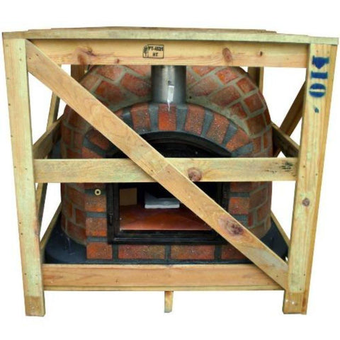 Authentic Pizza Ovens Premium Lisboa Rustic Finish Countertop Wood Fired Pizza Oven in Crate that it will be Delivered In