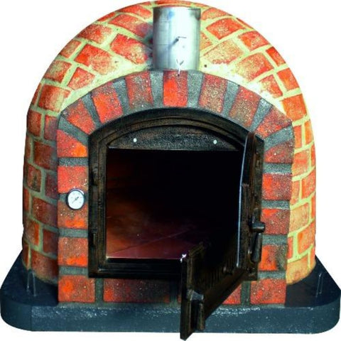 Image of Authentic Pizza Ovens Premium Lisboa Rustic Finish Countertop Wood Fired Pizza Oven with Both Doors Open and View Inside the Oven