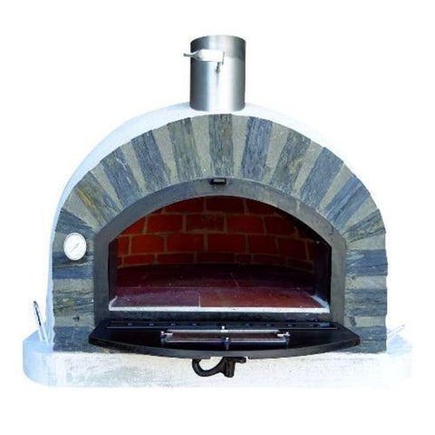 Authentic Pizza Ovens Premium Pizzaioli Stone Arch Countertop Wood Fired Pizza Oven Front Door Open with View Inside Oven