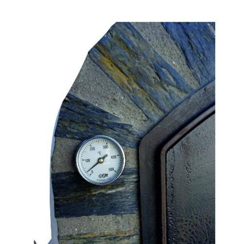 Authentic Pizza Ovens Premium Pizzaioli Stone Arch Countertop Wood Fired Pizza Oven Thermometer Close Up View