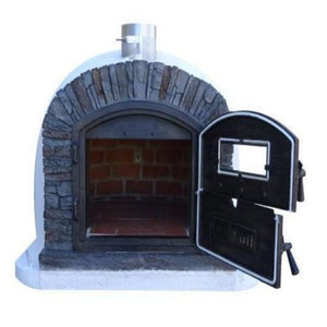 Authentic Pizza Ovens Premium Ventura Black Stone Countertop Wood Fired Pizza Oven with Both Double Doors Open