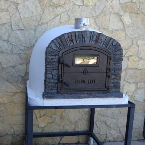 Image of Authentic Pizza Ovens Premium Ventura Black Stone Countertop Wood Fired Pizza Oven Outside on Black Stand with Door Closed