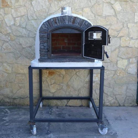 Image of Authentic Pizza Ovens Premium Ventura Black Stone Countertop Wood Fired Pizza Oven on Back Patio on Stand with Both Doors Open