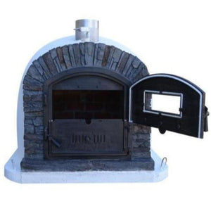 Authentic Pizza Ovens Premium Ventura Black Stone Countertop Wood Fired Pizza Oven with One Door Open