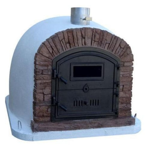 Image of Authentic Pizza Ovens Premium Ventura Red Brick Countertop Wood Fired Pizza Oven Left Side View