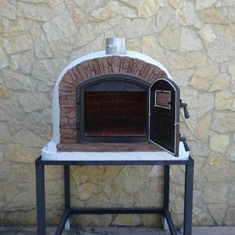 Image of Authentic Pizza Ovens Premium Ventura Red Brick Countertop Wood Fired Pizza Oven on Back Patio on Stand with Both Doors Open and View Inside Oven