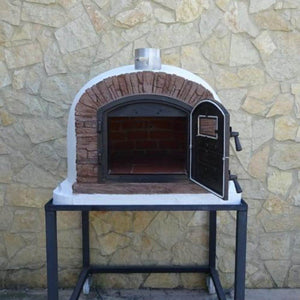 Authentic Pizza Ovens Premium Ventura Red Brick Countertop Wood Fired Pizza Oven on Back Patio on Stand with Both Doors Open and View Inside Oven