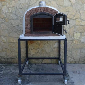Authentic Pizza Ovens Premium Ventura Red Brick Countertop Wood Fired Pizza Oven on Outside Patio on Black Stand with Both Doors Open Full View