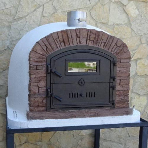 Image of Authentic Pizza Ovens Premium Ventura Red Brick Countertop Wood Fired Pizza Oven Outdoors on Patio on Black Stand