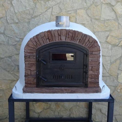 Image of Authentic Pizza Ovens Premium Ventura Red Brick Countertop Wood Fired Pizza Oven on Black Stand in Backyard Both Doors Closed
