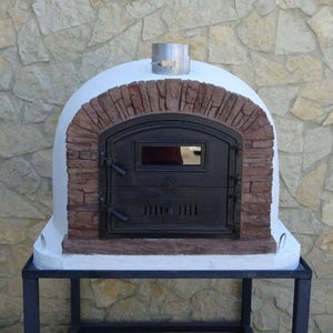Authentic Pizza Ovens Premium Ventura Red Brick Countertop Wood Fired Pizza Oven on Black Stand in Backyard Both Doors Closed