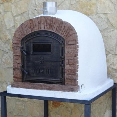 Image of Authentic Pizza Ovens Premium Ventura Red Brick Countertop Wood Fired Pizza Oven in Backyard on Black Stand Right Side View