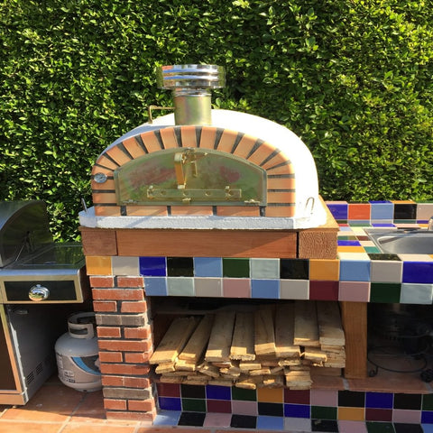 Authentic Pizza Ovens Stainless Steel Pizza Oven Chimney Cap on Pizzaioli Traditional Wood Fired Pizza Oven in Backyard