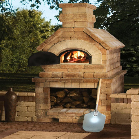 Chicago Brick Oven CBO 1000 Commercial Wood Fired Pizza Oven Kit Back Porch Residential Installation with Oven Door Open and Fire Burning Inside