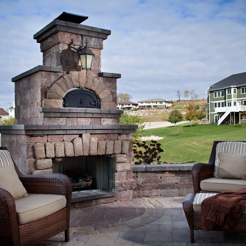 Chicago Brick Oven CBO 1000 Commercial Wood Fired Pizza Oven Kit Backyard Custom Installation Above Fireplace in Summer