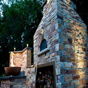 Chicago Brick Oven CBO 1000 Commercial Wood Fired Pizza Oven Kit Old World Traditional Tuscan Installation in Residential Backyard