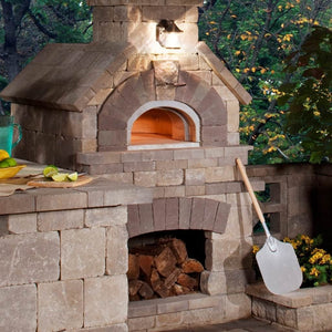 Chicago Brick Oven CBO 1000 Commercial Wood Fired Pizza Oven Kit Custom Home Backyard Installation with Light Stone and Oven Door Open
