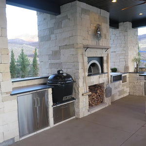 Chicago Brick Oven CBO 1000 Commercial Wood Fired Pizza Oven Kit Outdoor Residential Kitchen Installation with White Stone