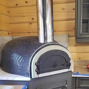 Chicago Brick Oven CBO 1000 Commercial Wood Fired Pizza Oven Kit Covered in Tile with Chimney Pipe Extension