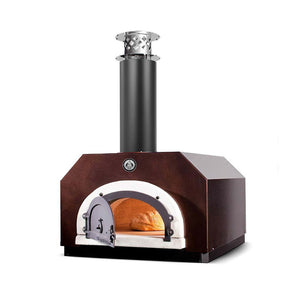 Chicago Brick Oven CBO 500 Countertop Wood Fired Pizza Oven CBO-O-CT-500-CV Copper Vein with Door Open and Bread Inside