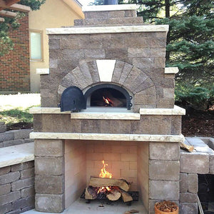 Chicago Brick Oven CBO 500 Wood Fired Pizza Oven Kit Custom Back Patio Residential Build with Fireplace