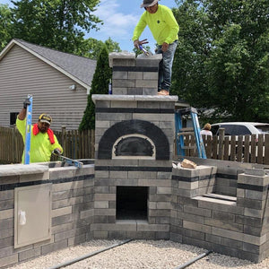 Chicago Brick Oven CBO 500 Wood Fired Pizza Oven Kit Custom Outdoor Kitchen Residential Build with Workers