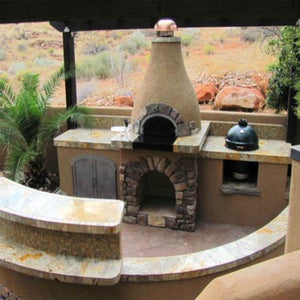 Chicago Brick Oven CBO 500 Wood Fired Pizza Oven Kit Old World Traditional Outdoor Kitchen with Green Egg and Stone Work