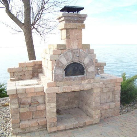 Chicago Brick Oven CBO 500 Wood Fired Pizza Oven Kit Outdoor Kitchen Traditional Style Next to Lake