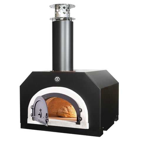Chicago Brick Oven CBO 750 Countertop Wood Fired Pizza Oven in Black Solar CBO-O-CT-750-BS with Door Open Cooking Bread