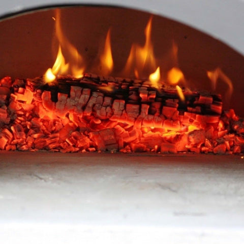 Image of Chicago Brick Oven Mobile CBO 750 Freestanding Wood Fired Pizza Oven Fire Burning Embers Inside Oven Close Up View