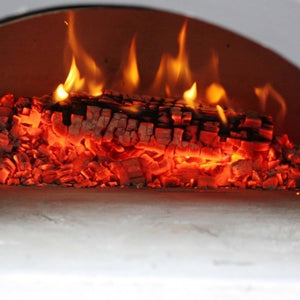 Chicago Brick Oven Mobile CBO 750 Freestanding Wood Fired Pizza Oven Fire Burning Embers Inside Oven Close Up View