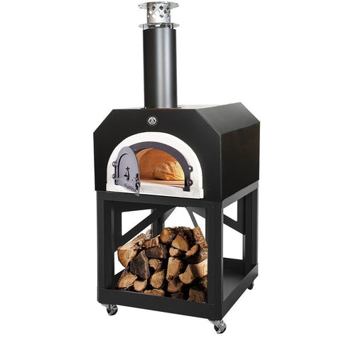 Image of Chicago Brick Oven Mobile CBO 750 Freestanding Wood Fired Pizza Oven in Black Solar CBO-O-MBL-750-BS with Door Open Cooking Bread
