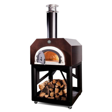 Image of Chicago Brick Oven Mobile CBO 750 Freestanding Wood Fired Pizza Oven in Copper Vein CBO-O-MBL-750-CV with Door Open Cooking Bread