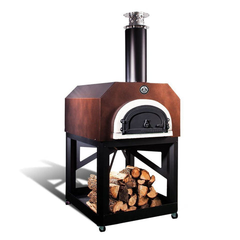 Image of Chicago Brick Oven Mobile CBO 750 Freestanding Wood Fired Pizza Oven in Copper Vein with Door Closed Left Side View